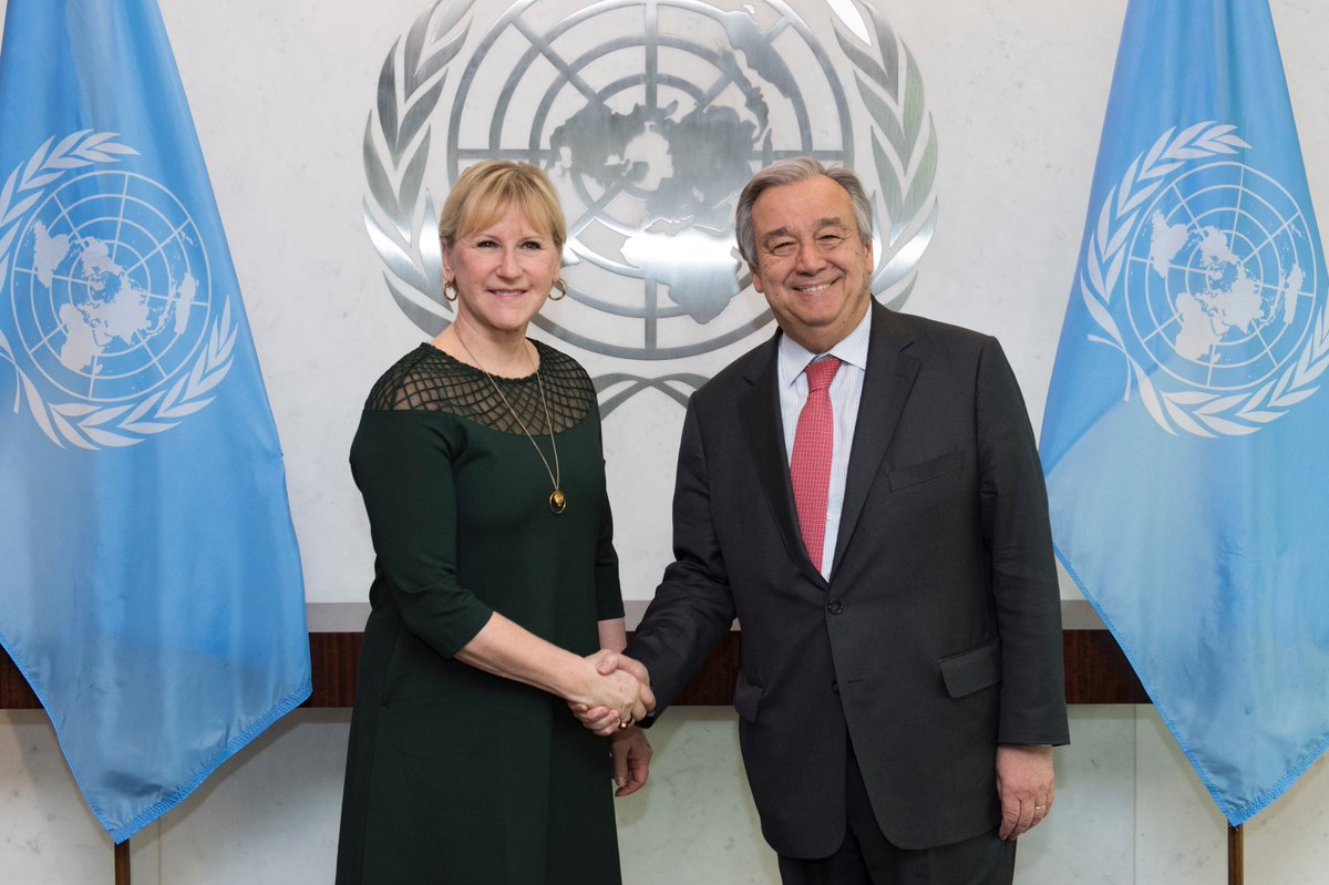 Discussed UN reforms and current #UNSC affairs with @antonioguterres. Sweden supports his efforts for a @UN in tune with our time.
