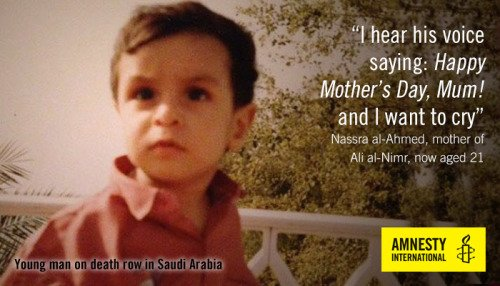 Él es #Ali_AlNimr ahora tiene 21 años detenido tras participar en unas protestas condenado a muerte en #ArabiaSaudí  https://www. es.amnesty.org/actua/acciones /arabia-pena-muerte-joven-oct15/ &nbsp; … <br>http://pic.twitter.com/2M3TXYBnmi