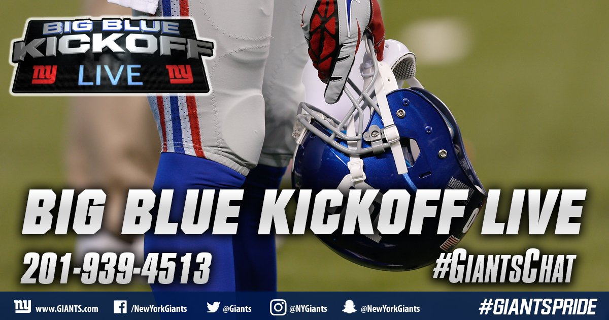 Big Blue Kickoff Live will air at 12:00 PM ET on  http:// Giants.com  &nbsp;   and Giants App! #GiantsChat <br>http://pic.twitter.com/M1JgvaeK3n