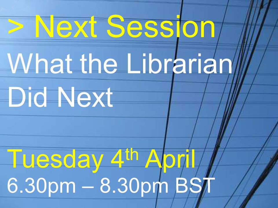 The next #uklibchat is on What the Librarian Did Next. Join us if you're a former librarian. Let your former librarian friends know! https://t.co/O0bhG0tSo0