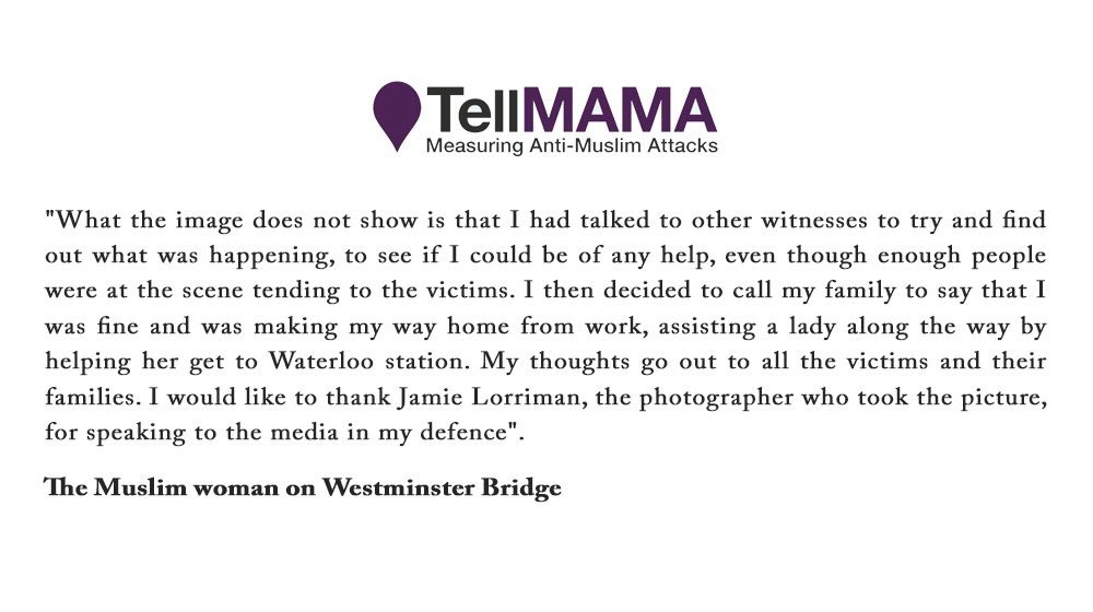 Statement from the Muslim woman photographed on Westminster Bridge dur...