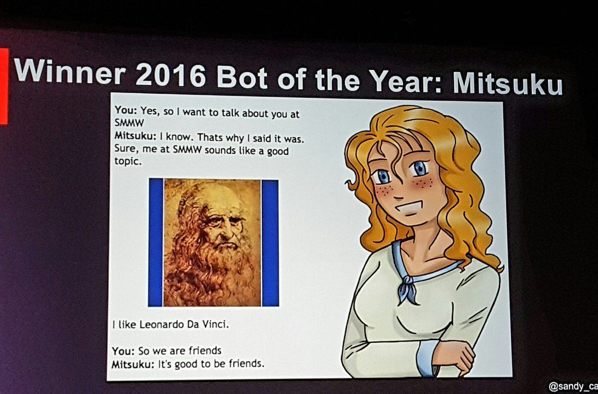 The #1 bot of the year in 2016...you can download her. #SMMW17 #AI #LMA17 #lmamkt https://t.co/DLDhn2ius5