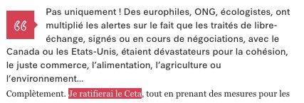 &quot;Je ratifierai le #CETA&quot; dit @EmmanuelMacron à @libe  Euh, il se présente aux législatives  ?  (c&#39;est le Parlement qui doit se prononcer)<br>http://pic.twitter.com/pmQeD9vBaJ
