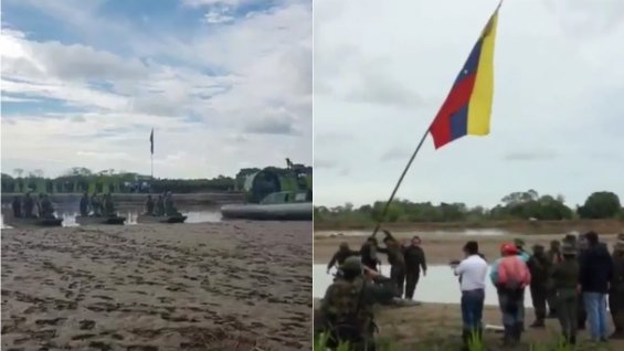 Departure of Venezuelan troops after intrusion in Arauquita, Colombia