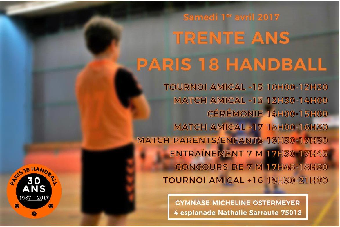 Le 1er avril 2017, le @p18hb fête ses 30 ans ! #Paris18 #handball #p18hb Programme &gt;  https:// goo.gl/fW9ov5  &nbsp;  <br>http://pic.twitter.com/LzsXpIoUO2