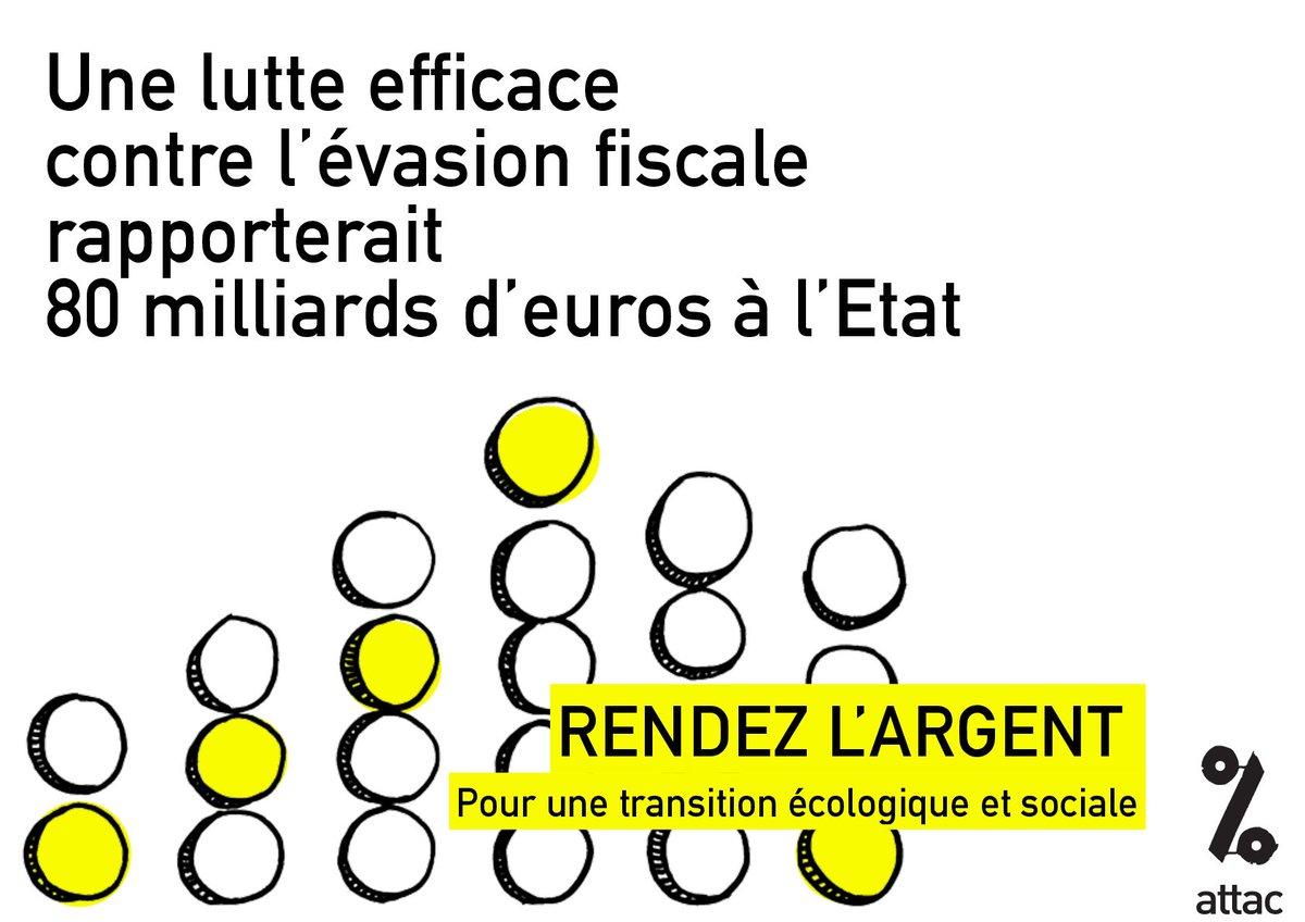 Avec les 80 milliards d&#39;€ d&#39;#EvasionFiscale... imaginez ce que l&#39;on pourrait financer avec ! #RendezLArgent &gt;  https:// france.attac.org/5364  &nbsp;  <br>http://pic.twitter.com/tITNpAXLgR