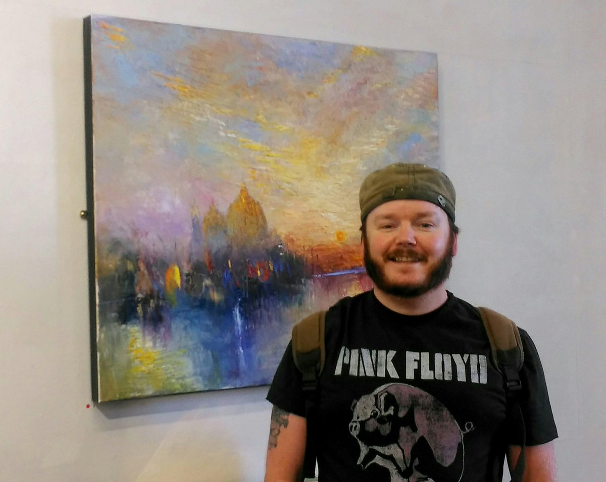 #Artist Karl Elphick popped into the gallery today! Visitors love his #Turner inspired #artworks. 4 #paintingss sold!<br>http://pic.twitter.com/cQpmd0nM6z
