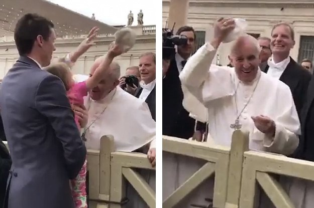 This 3-year-old stealing the Pope\'s hat is pretty much the best thing you\'ll see today