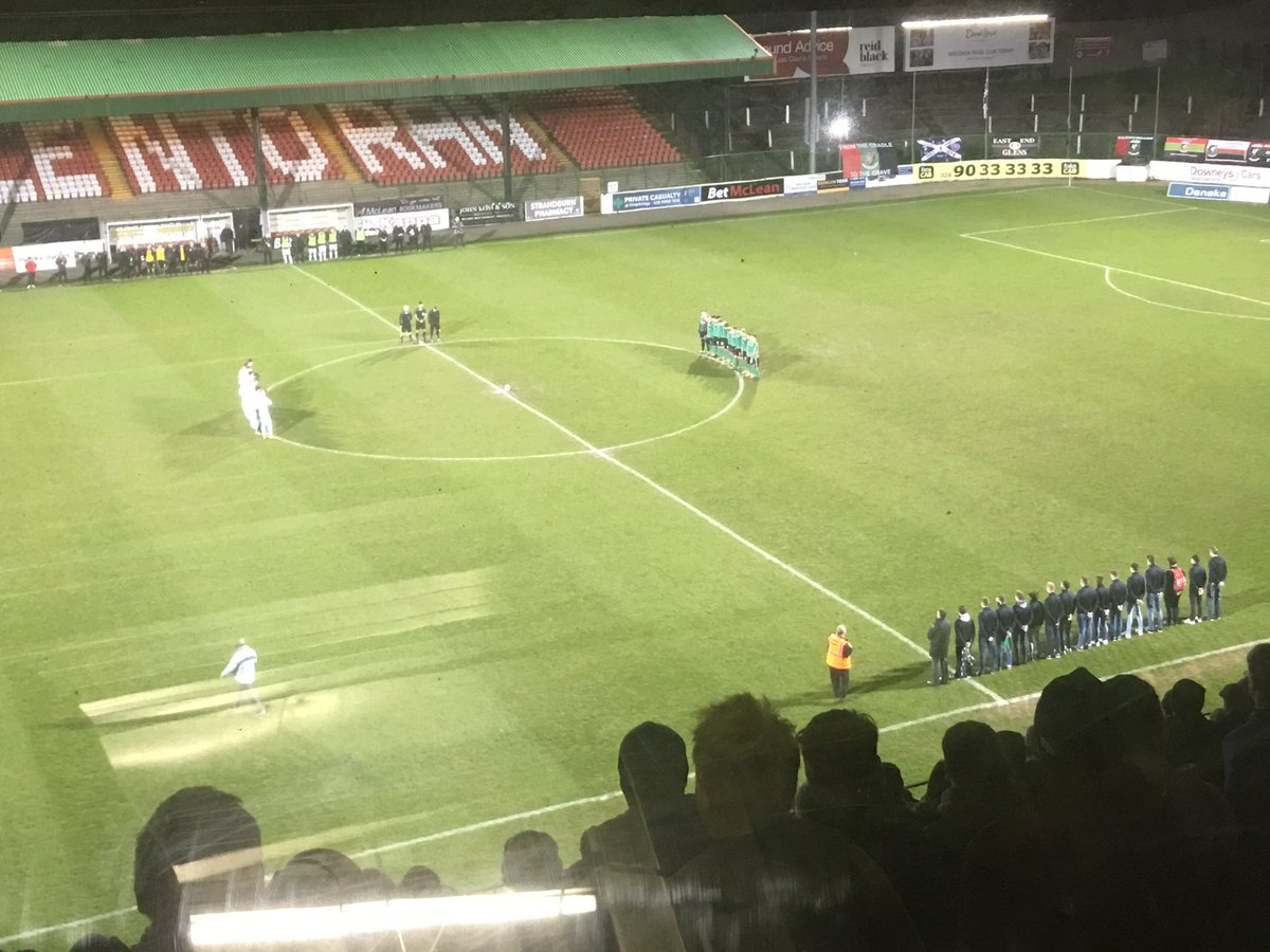 A minutes silence is held following the sudden passing of @derrycityfc captain Ryan McBride 5️⃣