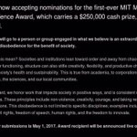 How obedient is MIT? Find out: nominate someone for the new MIT Disobedience Award (closes May 1) https://t.co/xwwMw1yvGK
