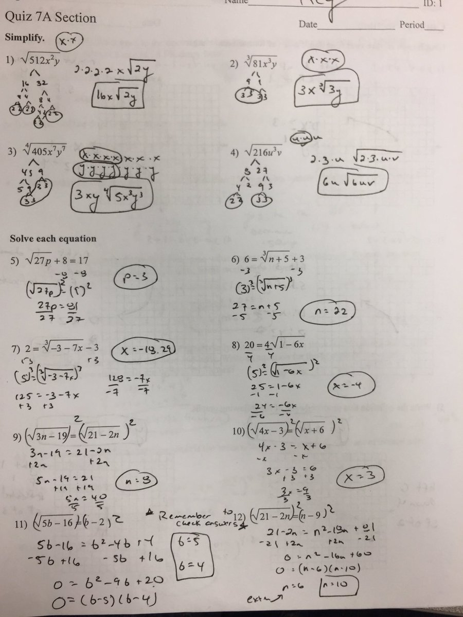 "Coach Reilly on Twitter: ""Algebra 2 midterm study guide answer key pages  1-3… """