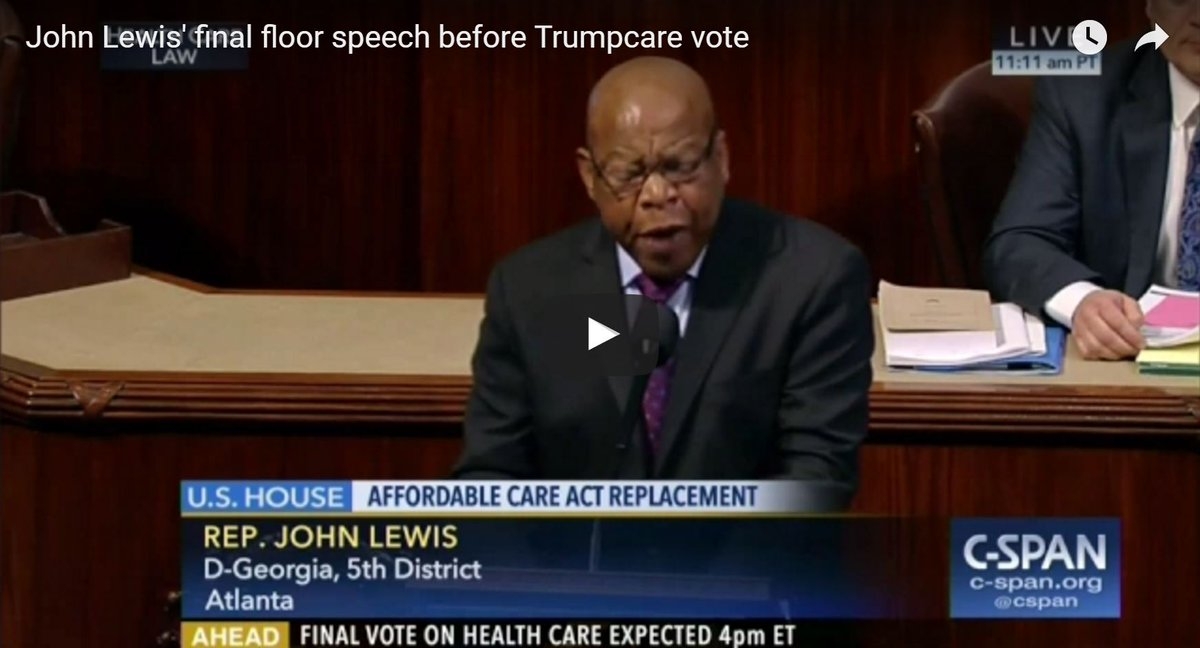 Trumpcare is dead.  But John Lewis' speech on Trumpcare will live on...