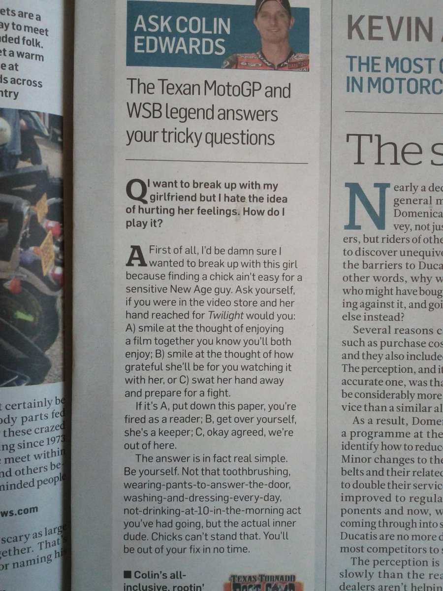 &quot;Colin #Edwards, agony aunt extraordinaire&quot; #motorcycle #biker #pics<br>http://pic.twitter.com/aIAqWostHt