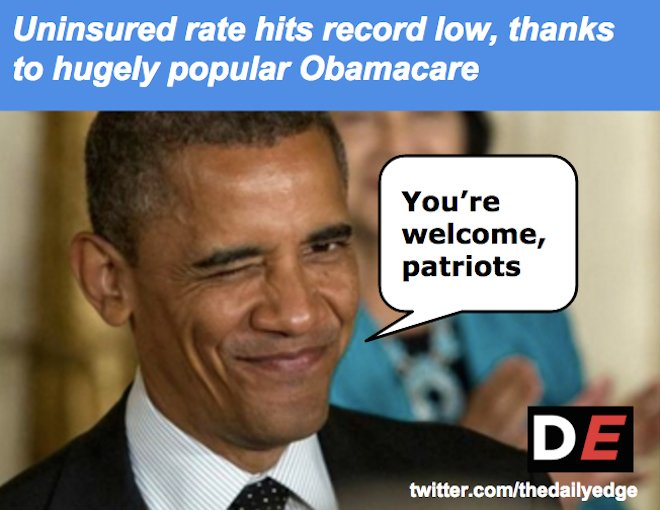 BREAKING: Trump voters to retain access to healthcare. #ThanksObama <br>http://pic.twitter.com/ApukLW1sZO
