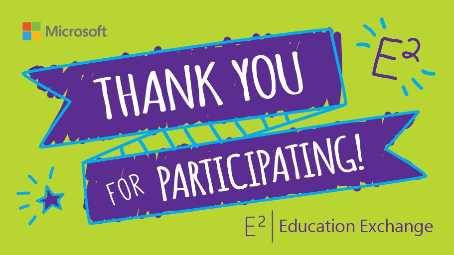 Thank you for making #E2 great! You can keep the learning going by signing up for the Microsoft Educator Community:  http:// msft.social/Jhyrf7  &nbsp;  <br>http://pic.twitter.com/CYbXi1Hb72