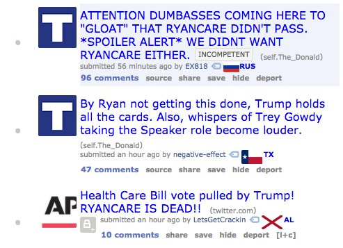Narratives coming up on the Trump subreddit this afternoon
