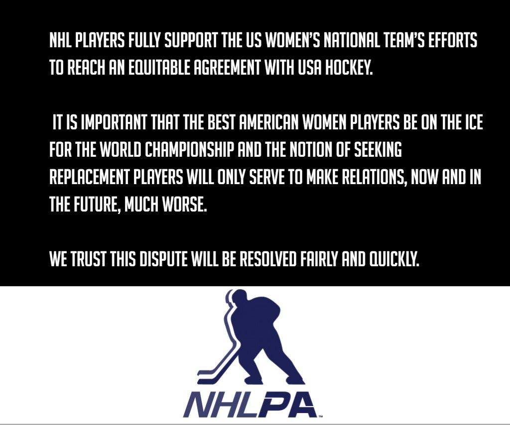 Statement on Women's US National Hockey Team matter below  #BeBoldForChange https://t.co/TWbRoTtOnP