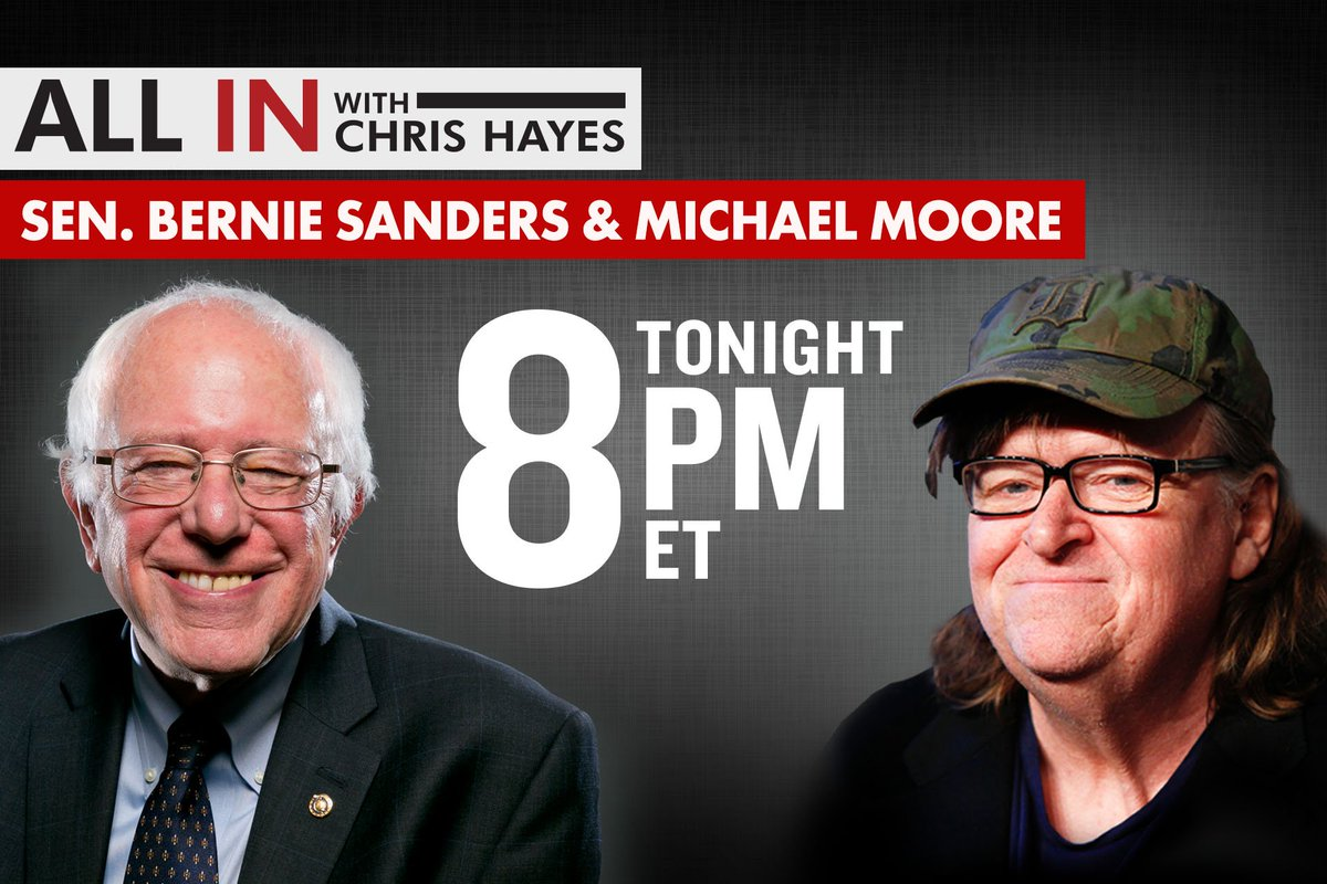 Joining @chrislhayes tonight: @BernieSanders and @MMFlint #inners