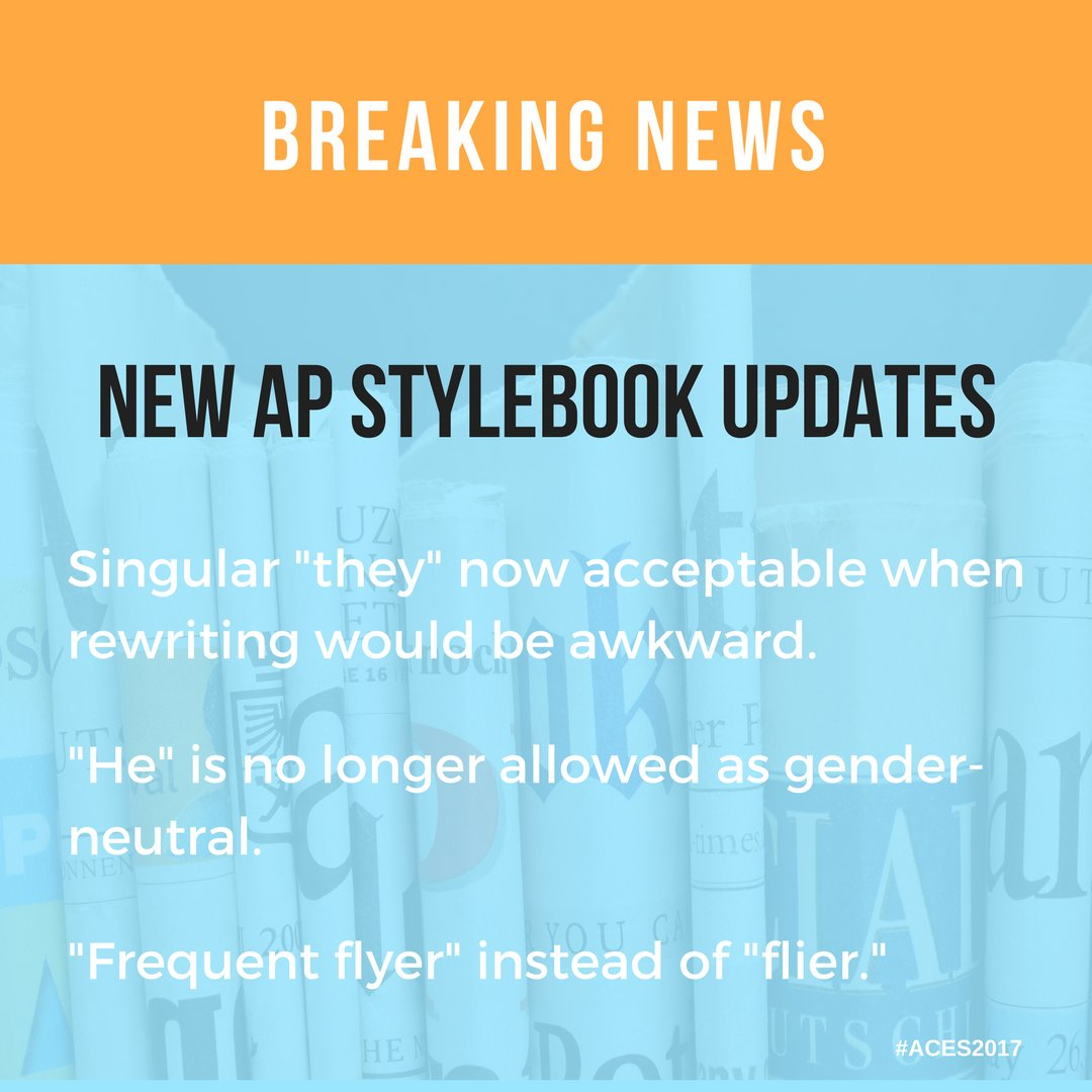 I'm a big nerd because I'm still excited about all the AP style changes today! https://t.co/47KMOqDrzY #ACES2017
