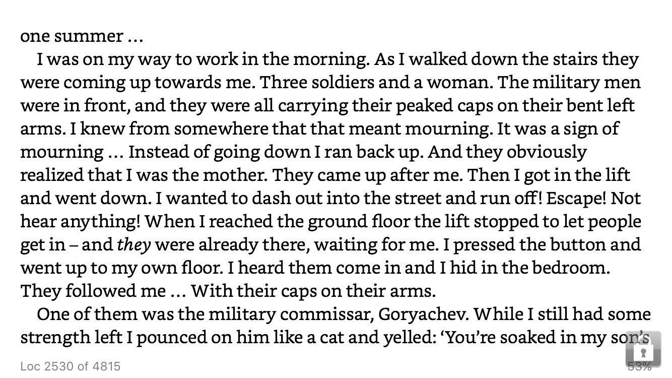 Boys in Zinc, Svetlana Alexeivich . A mother realises her son has died in Afghanistan. https://t.co/6n4YYB7FYn