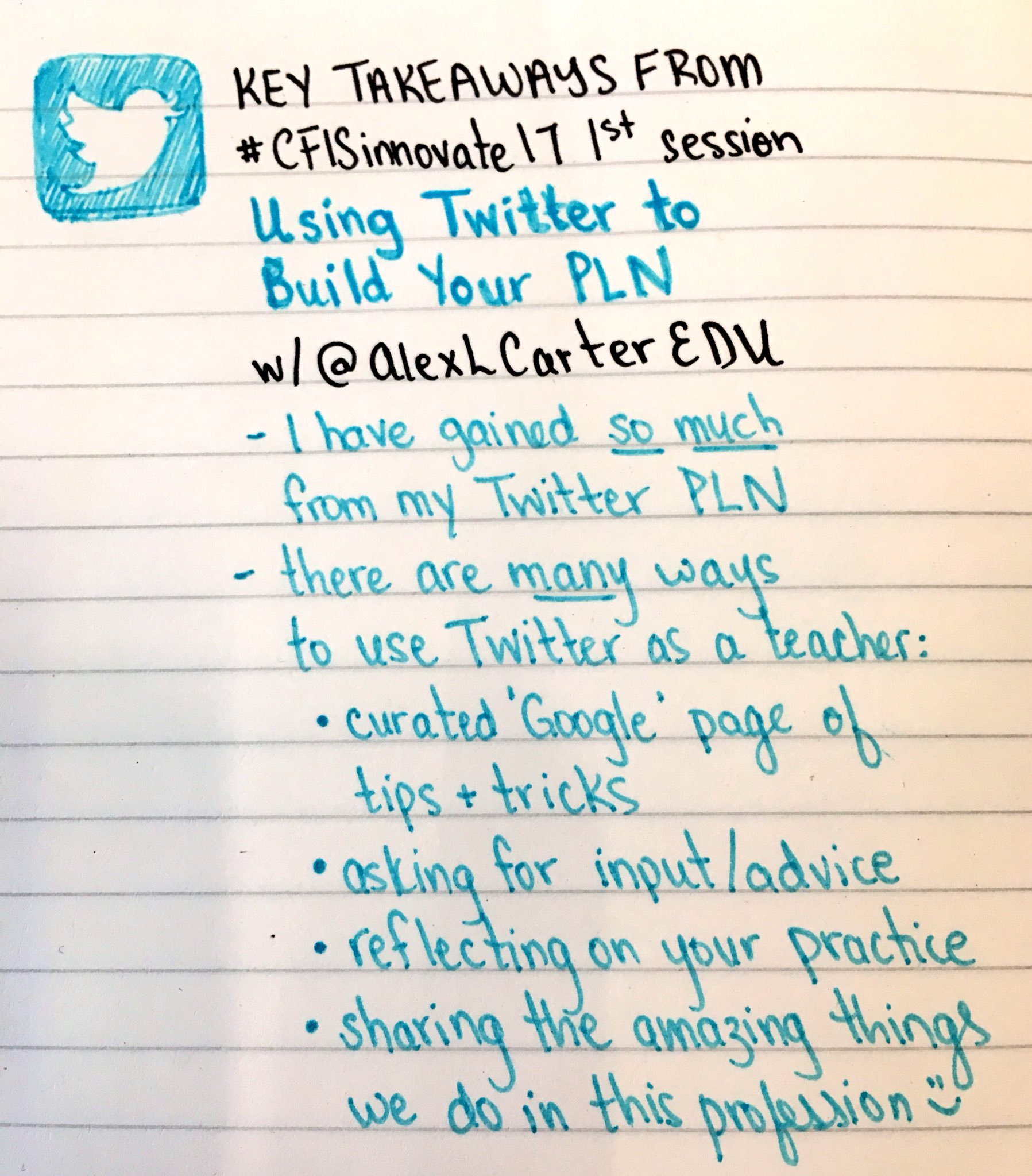 Recap 1 of #CFISinnovate17. Thank you @AlexLCarterEDU for reminding me of how grateful I am to my #PLN for the support and inspiration https://t.co/sbCvDrOWv2
