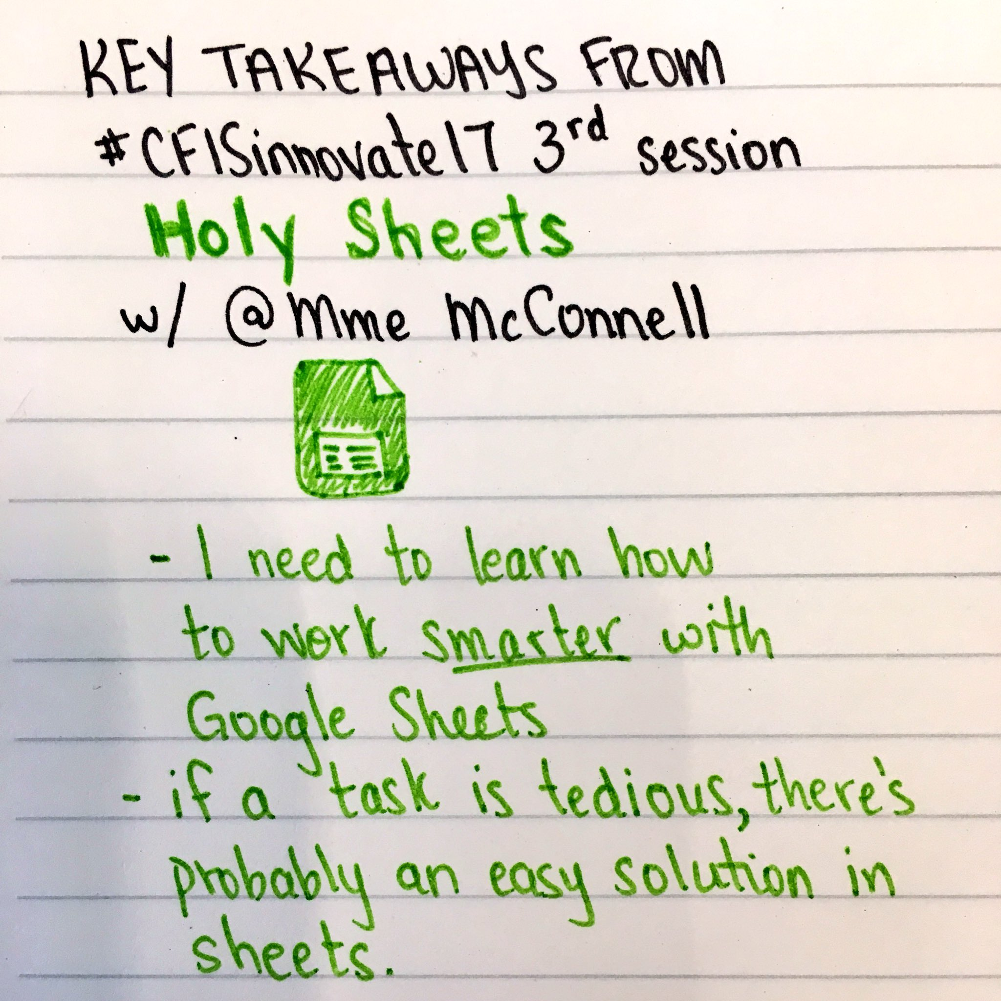 Recap 3 of #CFISinnovate17. @MmeMcConnell is the go-to person for all things assessment in #GoogleSheets. I need to use it more! https://t.co/vT85bKkuEo