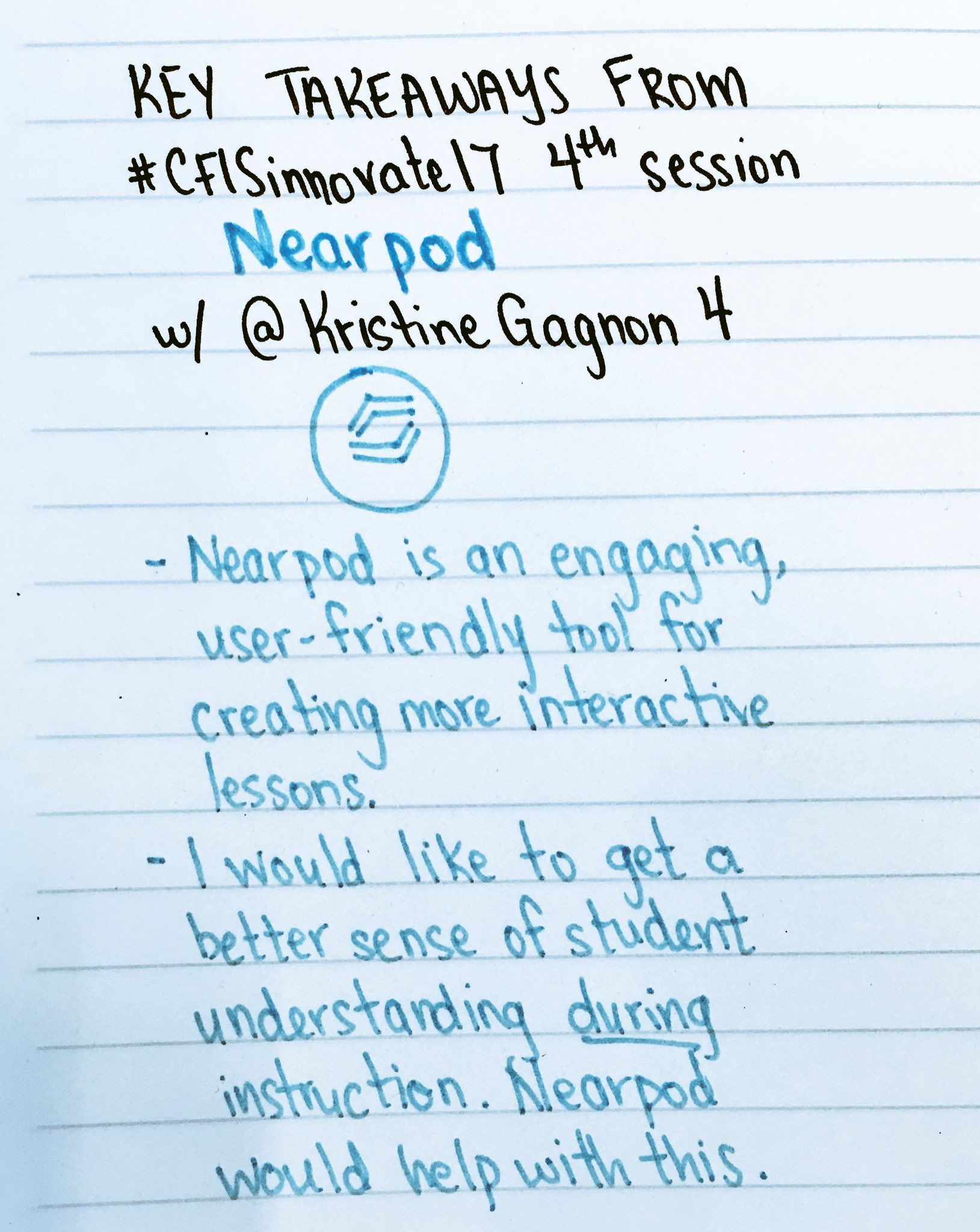 Recap 4 of #CFISinnovate17. Excited to try @nearpod after today's session by @KristineGagnon4. Great for quick feedback & engaging lessons. https://t.co/nQbMYiNjOy