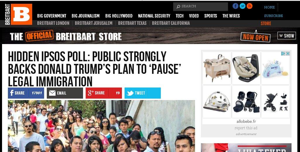 .@Allobebe, votre pub sur #Breitbart, site haineux de #FakeNews #xénophobe ne cadre pas avec votre image. Une erreur, probablement ?<br>http://pic.twitter.com/94QsY5spdd