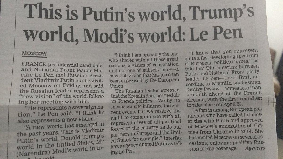 @MukulAgarwal66  This is Modi\'s, Trump\'s & Putin\'s world : Le Pen
