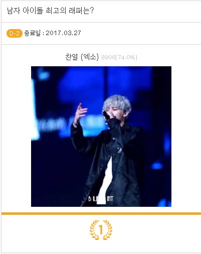 #FanQ #팬덤 #남자_아이돌_최고의_래퍼는 Vote #Chanyeol  http:// fanq.io/poll-result.ph p?id=209&amp;ref=tw &nbsp; …  End 27.03.2017 #VoteForEXOTH #VoteForEXO #TeamEXO #EXO #5thDaesangForEXO<br>http://pic.twitter.com/kaetL7o3k9