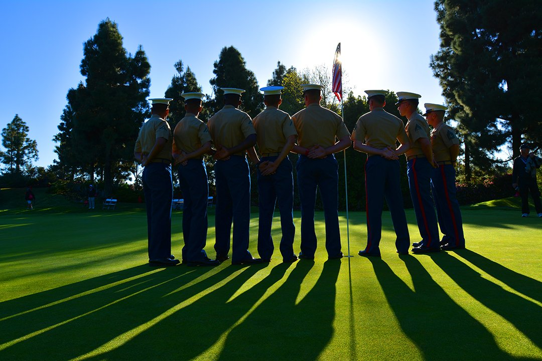 #ThankYou  .@USMC from nearby #CampPendleton tend the flag on No. 9 @LPGAKiaClassic https://t.co/wlsGwyGDlE