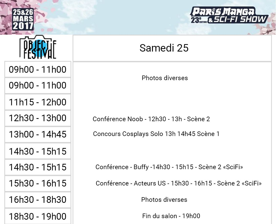 #planning @ParisManga  une journée et un week end bien chargé :) See you soon guys !<br>http://pic.twitter.com/7gKVCL0Jjw