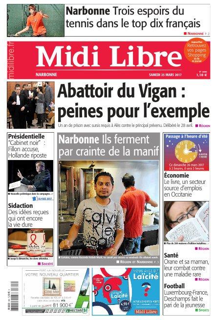 A la une de #MidiLibre #Narbonne ce samedi  - Ils ferment par crainte de la manifestation - Trois espoirs du #tennis dans le top français<br>http://pic.twitter.com/dpuBHxlBEe