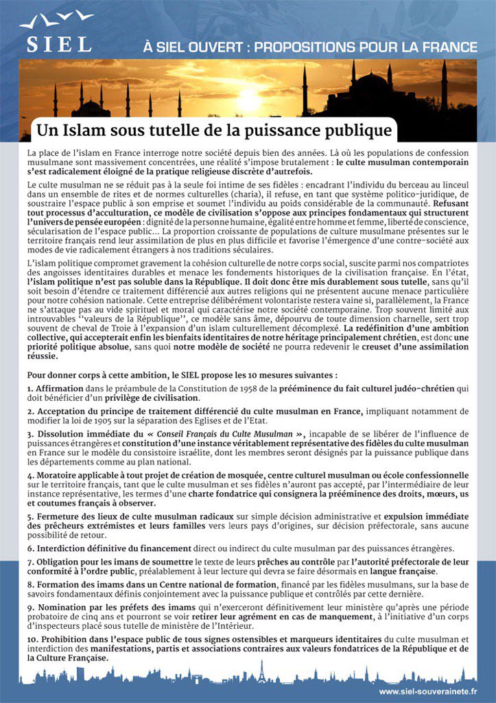 Le #SIEL est le seul parti capable de garantir une régulation pacifique et intransigeante de l&#39;#Islam en France. <br>http://pic.twitter.com/xtRl0S23dt