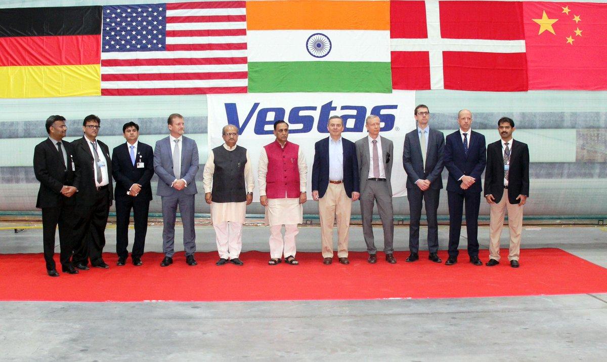 Gujarat CM inaugurates Vestas wind power blade plant at Bavla