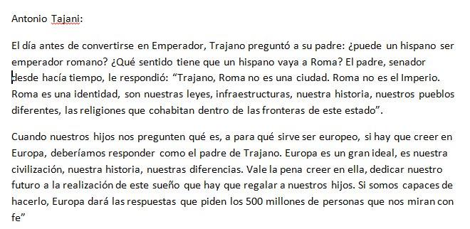 Así ha terminado su discurso Antonio Tajani, presidente del Parlamento Europeo. Con Trajano, qué era Roma y qué es o debería ser Europa https://t.co/E0hlZKxJIP