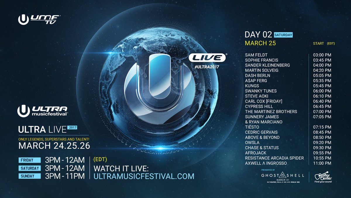Tune in to Day 2 of Ultra LIVE at #Ultra2017  Broadcast begins at 3:00...