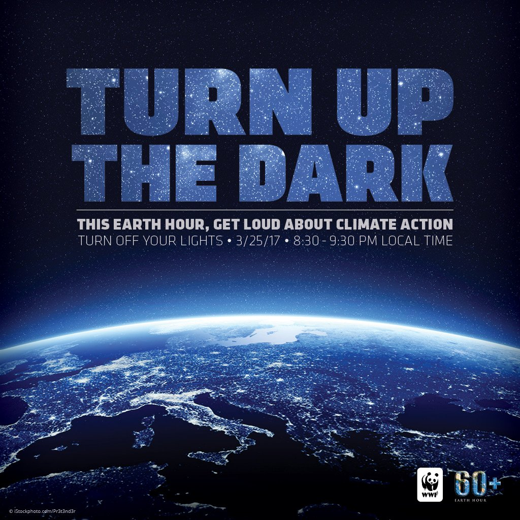 Still time to be part of #EarthHour 2017. Join me and Millions around the world https://t.co/P9Iqmmp1bw https://t.co/wKOhUn7kyu