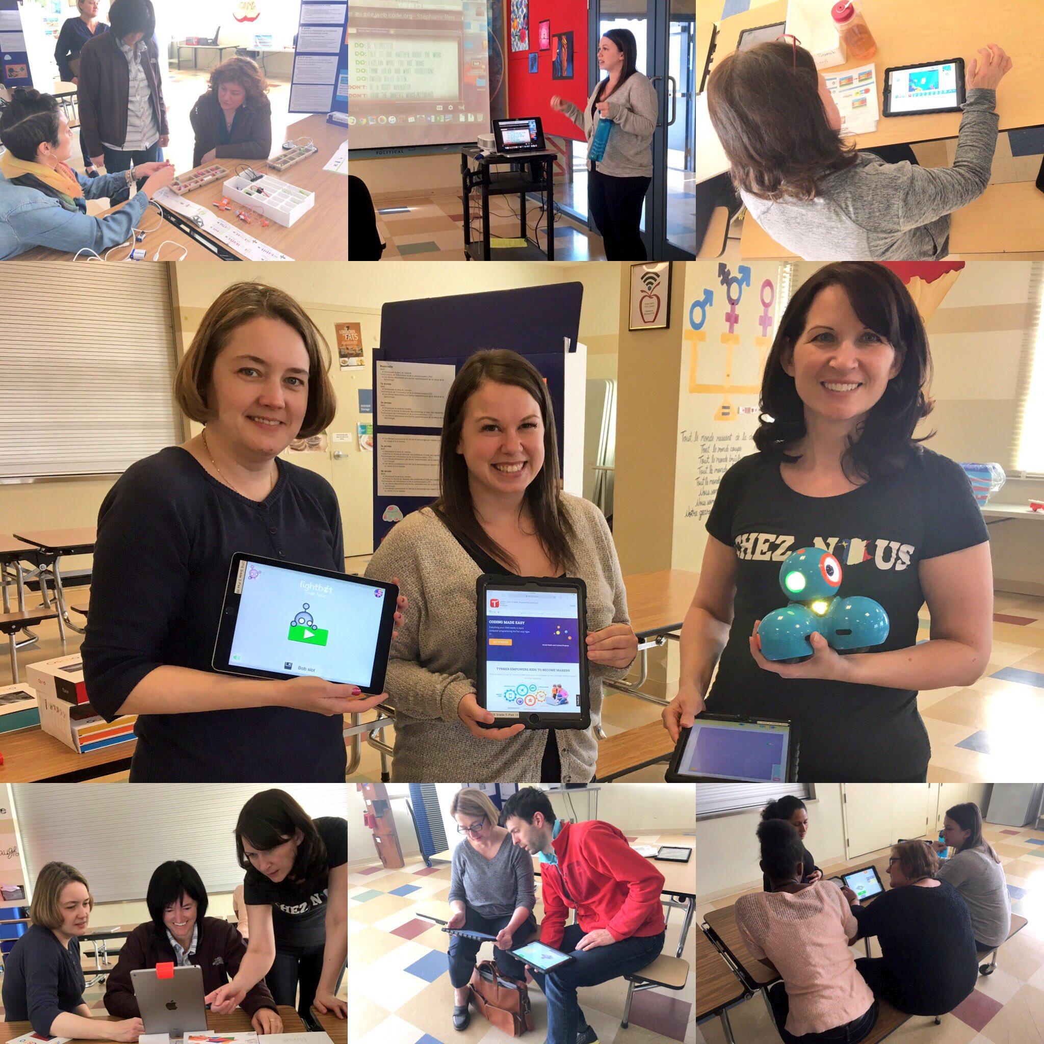 These amazing Ts hosted a teacher #HourofCode introducing @ScratchJr @littleBits @lightbotcom @WonderWorkshop @hourofcode #CFISinnovate17 https://t.co/sQP53GsLjg