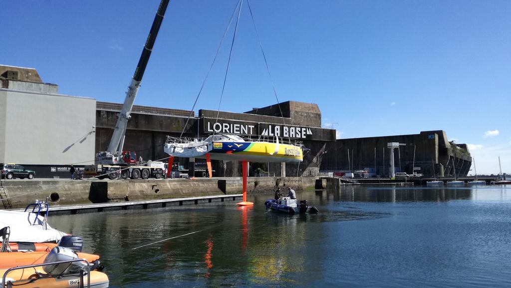 #Sailing: Bureau Vallée 2 back in the #water in Brittany  http:// j.mp/2n2Gum2  &nbsp;  <br>http://pic.twitter.com/CFNL1QBGVj