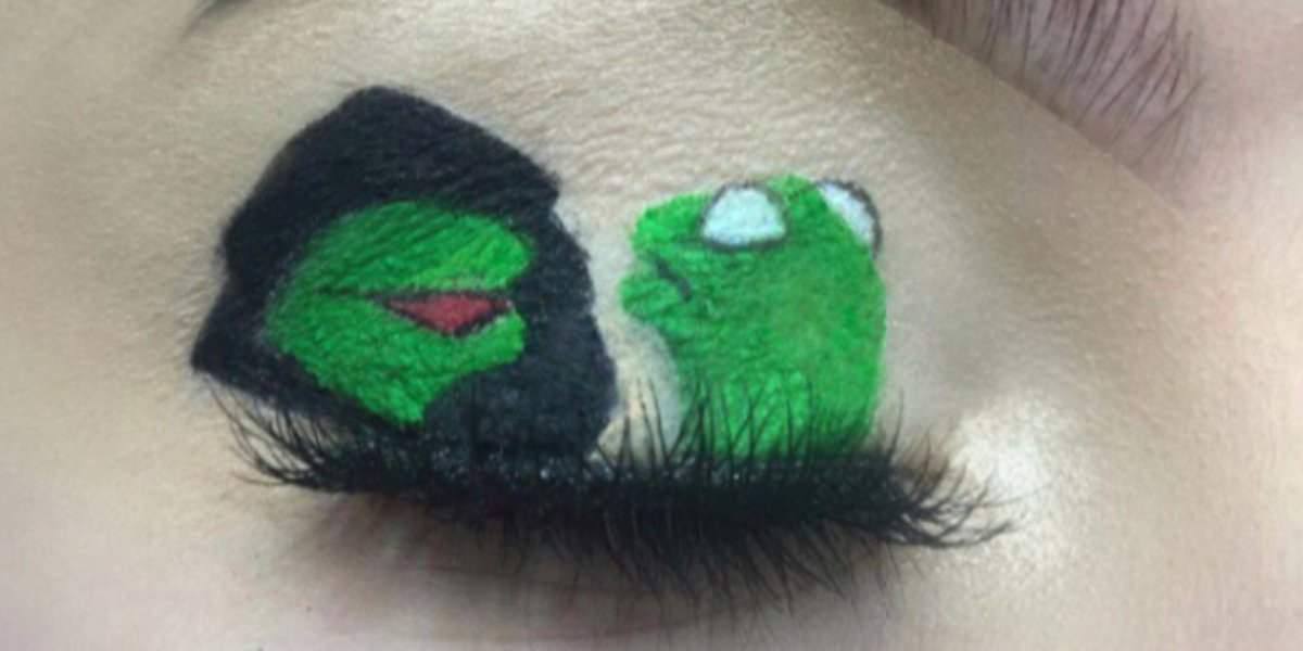 People are painting viral memes on their eyelids, because the internet is not enough huff.to/2nlU3Ax