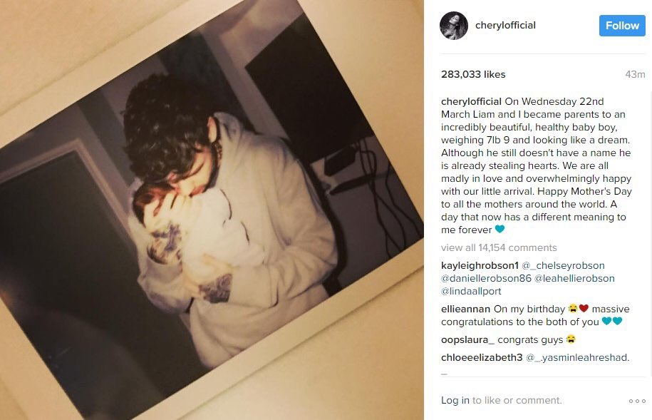 Congratulations to @LiamPayne and @CherylOfficial on the birth of thei...