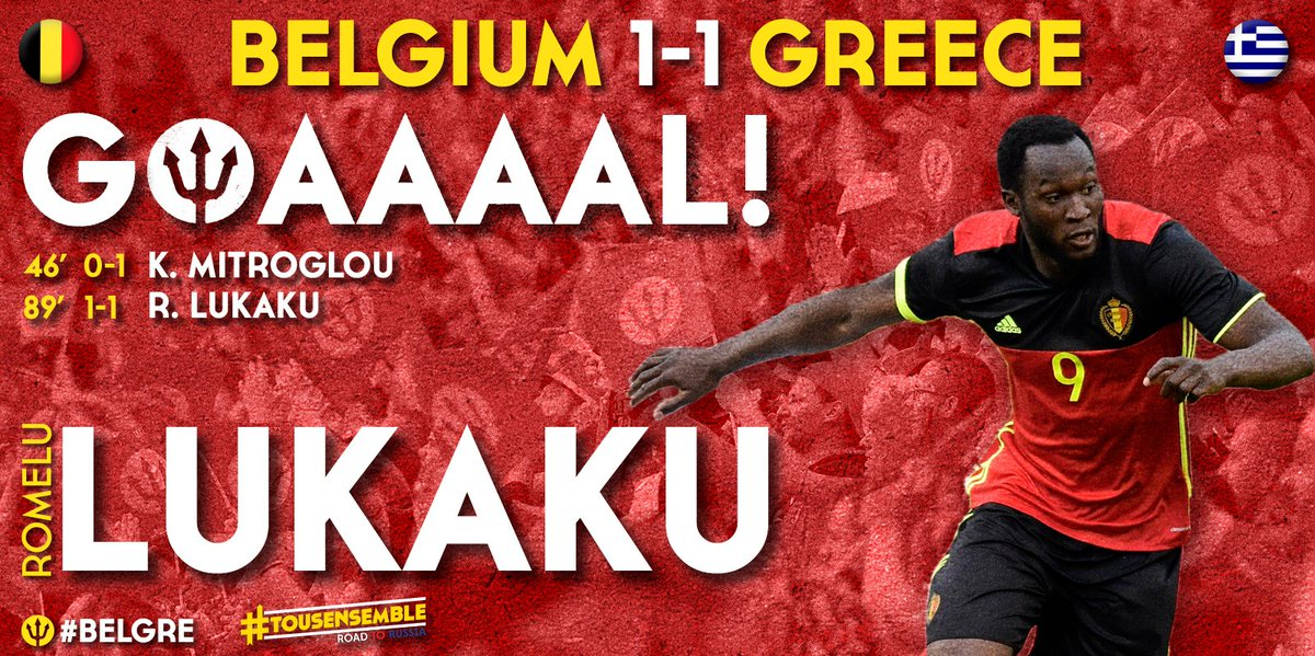 89' Goaal ! 1-1 @RomeluLukaku9 #belgre #roadtorussia https://t.co/7ZEt...