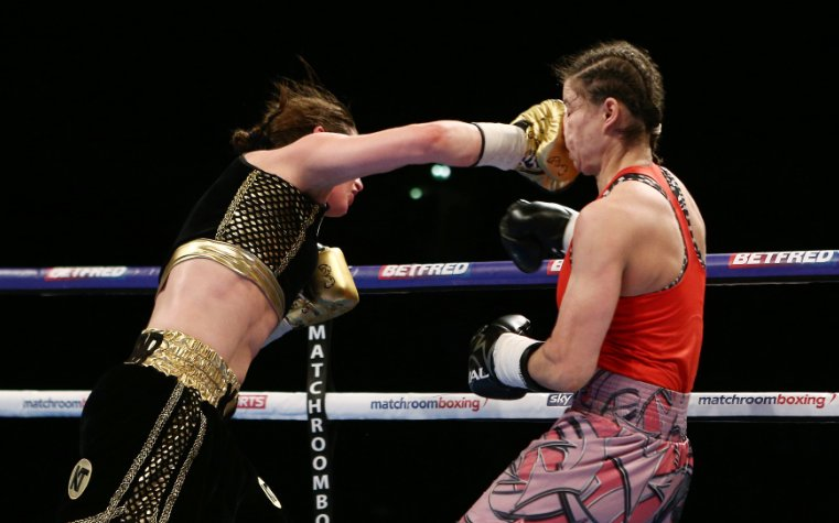 Katie Taylor wins!  She takes a unanimous points victory over Milena K...