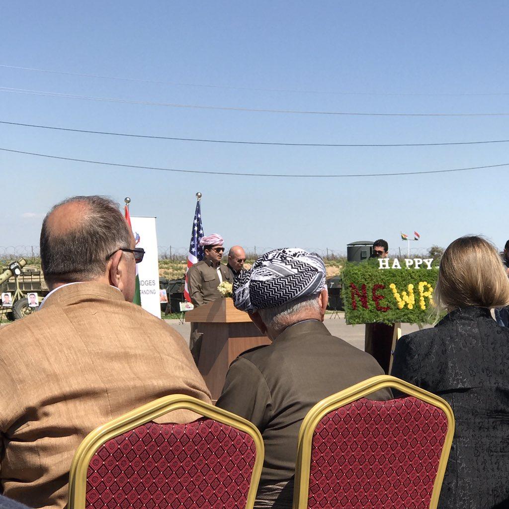 Inspiring words by Gen. Sirwan Barzani, Sheikh Jafar,Min. @FalahMustafa and US Dep. Consul at Makhmur #Newroz ceremony to honor our martyrs. https://t.co/9Dr4VCq1AH