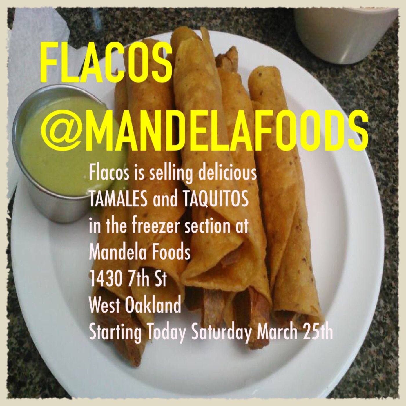 #flacos #feedlarevolucion @MandelaFoodsOAK #organic #vegan #eastbay #510 #westoakland #berkeley #mexicanfood #organico #vegano #comida https://t.co/aZlkgwtA9o