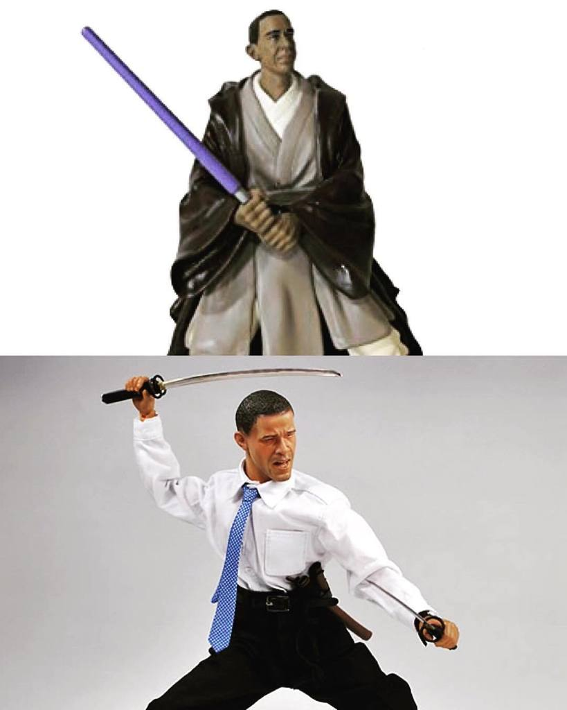 Cooler Obama action figure: Jedi or Samurai! #obama #barackobama #starwars #samurai #jedi<br>http://pic.twitter.com/fONpAwwdQ7