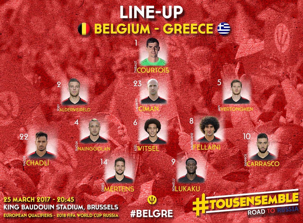 Line-up ! ⚽ #belgre #roadtorussia https://t.co/61tug8ZyV7