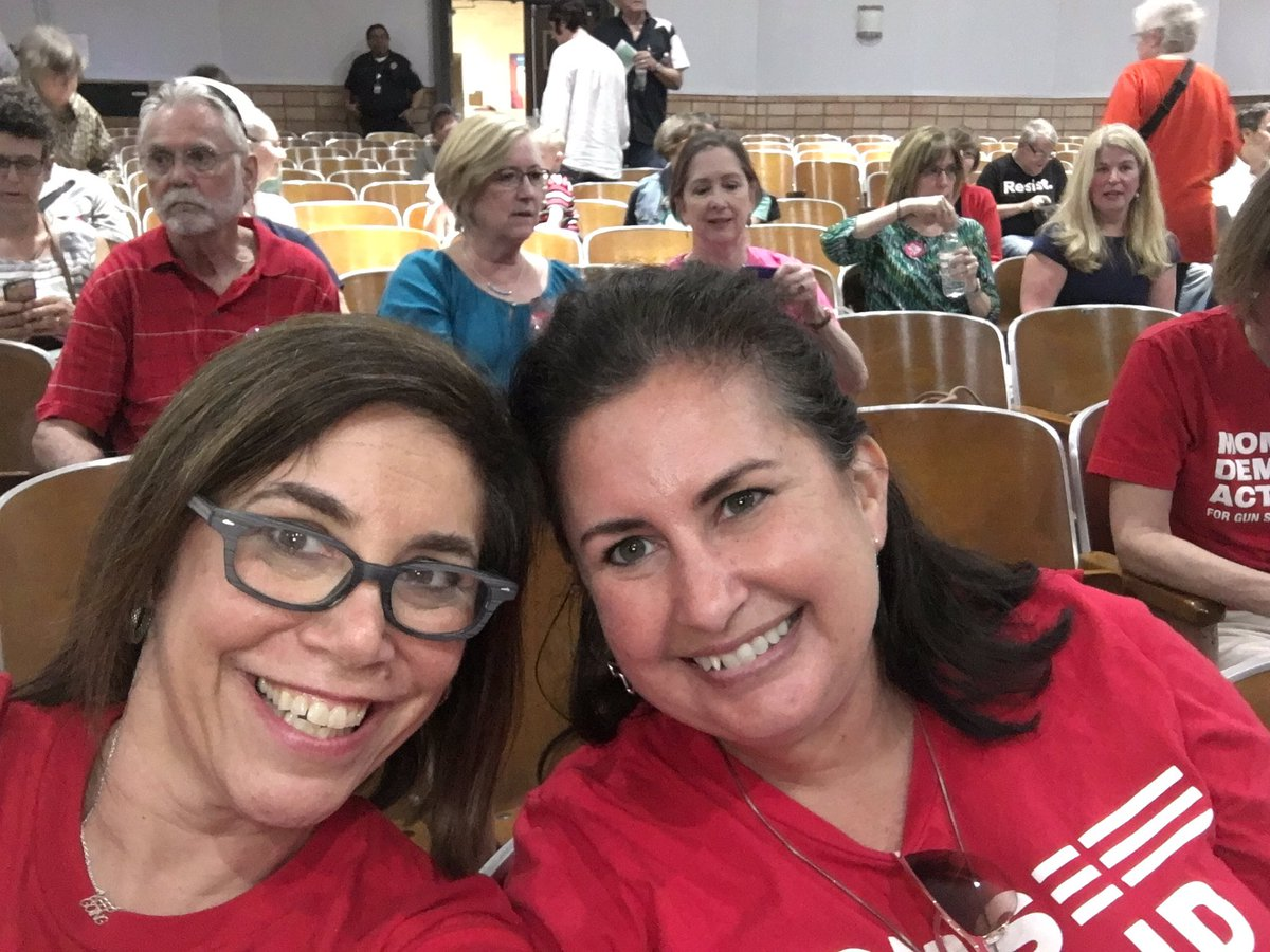 @MomsDemand ready to talk #gunsense w/@CongCulberson at town hall. @Indivisibletx7