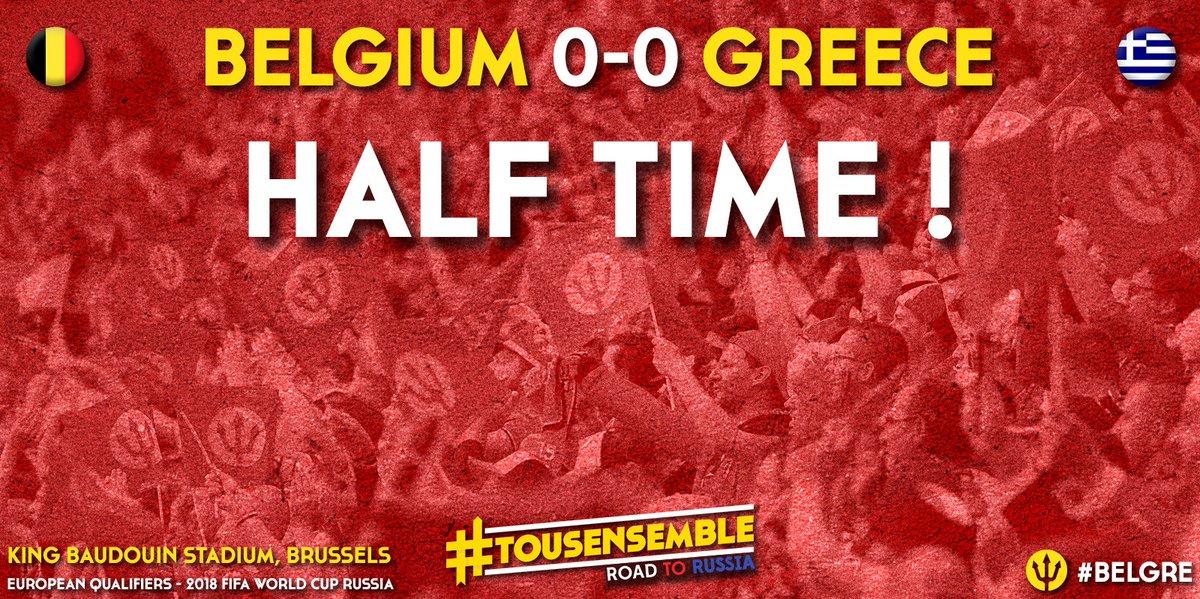 Half time ! Belgium – Greece : 0 – 0 #roadtorussia #belgre https://t.c...